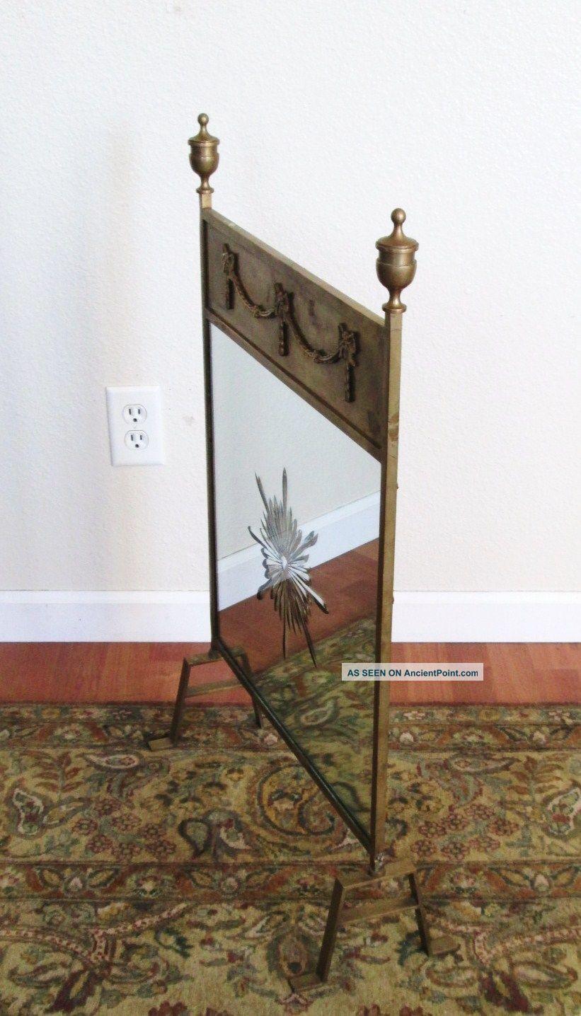 Antique Art Nouveau Art Deco Brass And Mirror Fire Screen Fireplace Screen Hearth Ware photo