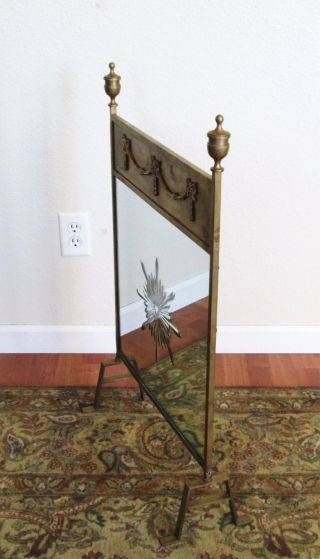 Antique Art Nouveau Art Deco Brass And Mirror Fire Screen Fireplace Screen photo
