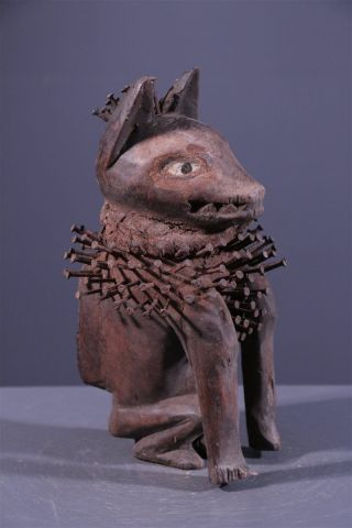 Congo: Tribal Bakongo African Koso Nkondi Dog Figure - 23 Cm. photo