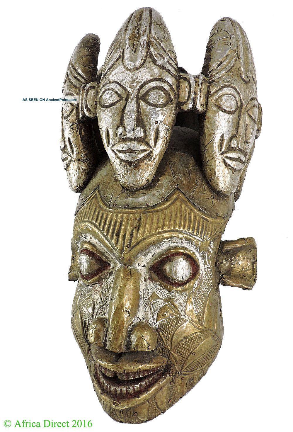 Bamun Helmet Mask Headpiece Faced Crown Cameroon Africa Art Was $490.  00 Masks photo