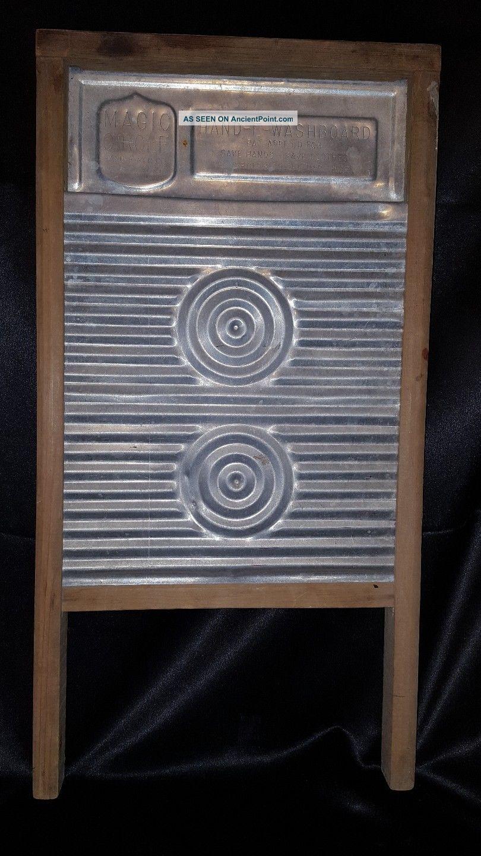 Vtg Magic Circle Aluminum & Wood Hand - E - Washboard Washboard Washing Machines photo