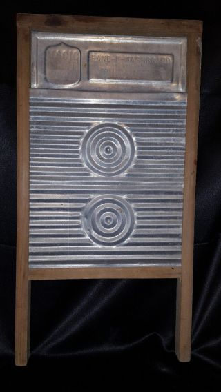 Vtg Magic Circle Aluminum & Wood Hand - E - Washboard Washboard photo