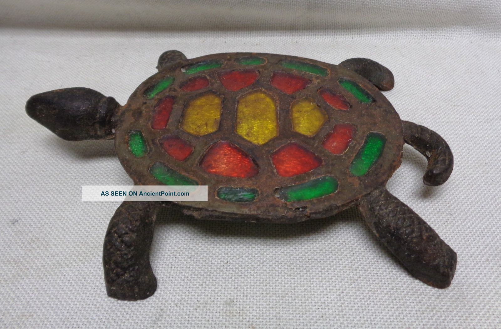 Estate Found Vintage Decor Turtle Metal Trivet W.  Red,  Green & Yellow Fillings Trivets photo