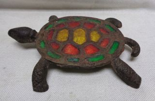 Estate Found Vintage Decor Turtle Metal Trivet W.  Red,  Green & Yellow Fillings photo
