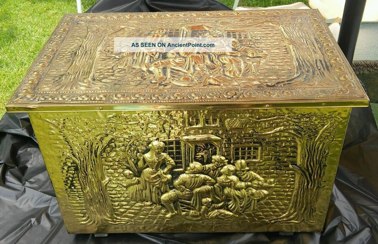 Vintage Brass Colonial Trunk,  Early American Brass Box Coal Box Wood Kindling Hearth Ware photo