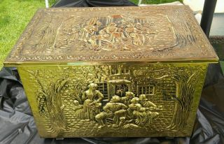 Vintage Brass Colonial Trunk,  Early American Brass Box Coal Box Wood Kindling photo