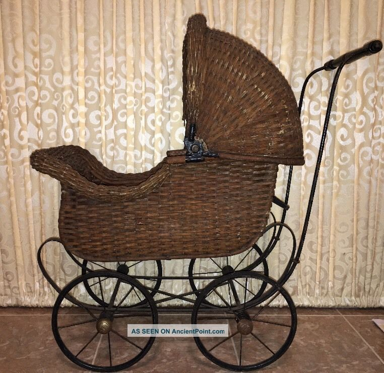 Pre 1904 Carriage Antique Doll Wicker Stroller Pram Victorian Canopy Cartoy Baby Carriages & Buggies photo