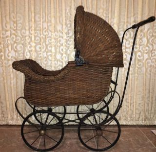 Pre 1904 Carriage Antique Doll Wicker Stroller Pram Victorian Canopy Cartoy photo
