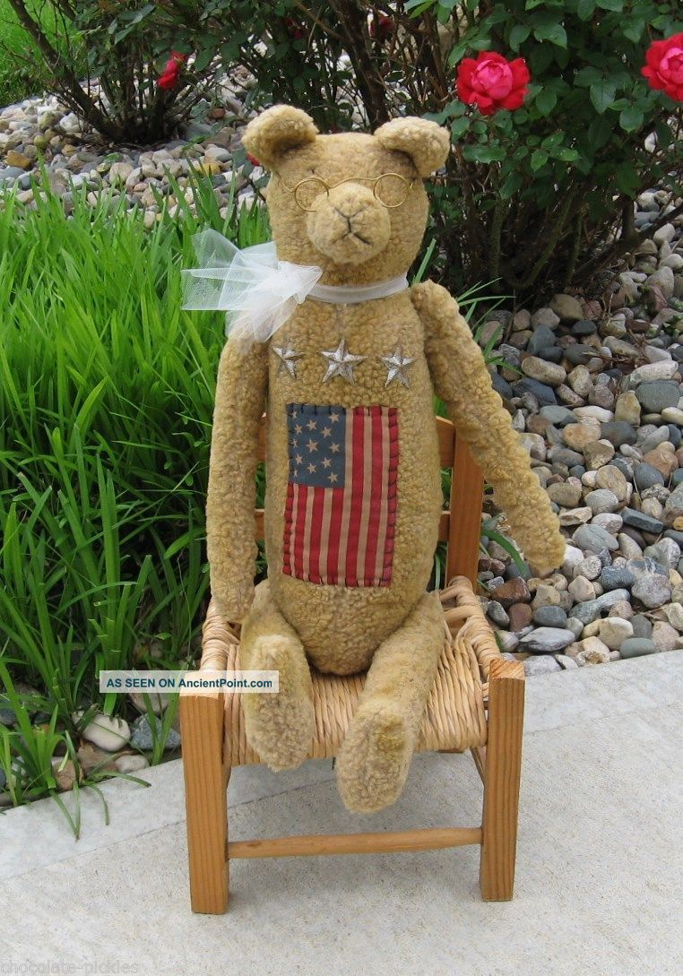 Large Americana Teddy Bear American Flag Stars Primitive United States Decor Primitives photo