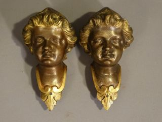 (2) Antique Bronze Figural Blackamoor Head Bust Old French Furniture Salvage photo