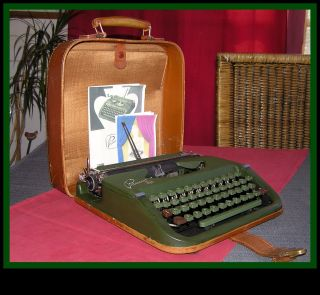 Rare 50s Forest Green Princess Typewriter,  Leather Suitcase: photo