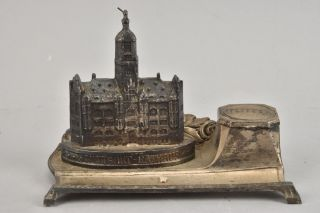 Antique German Brass (metal) And Porcelain Stuttgart Castle Inkwell photo