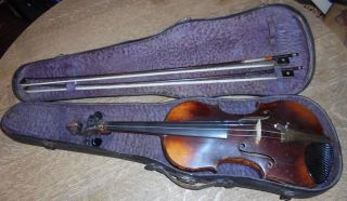 Estate Antique Russian Violin Rigart Rubus St.  Petersburg 1873 W/case & Two Bows photo