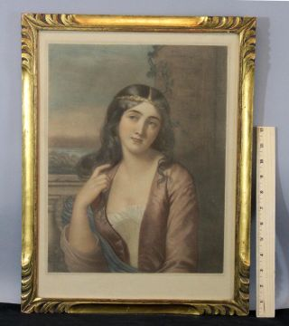 Antique H.  Garnier Aquatint Engraving Print After Andre,  Carved Gilt Frame Nr photo