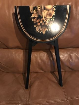 L.  Hitchcock Small Folding End Table Black With Gold Fruit Bowl And Trim photo