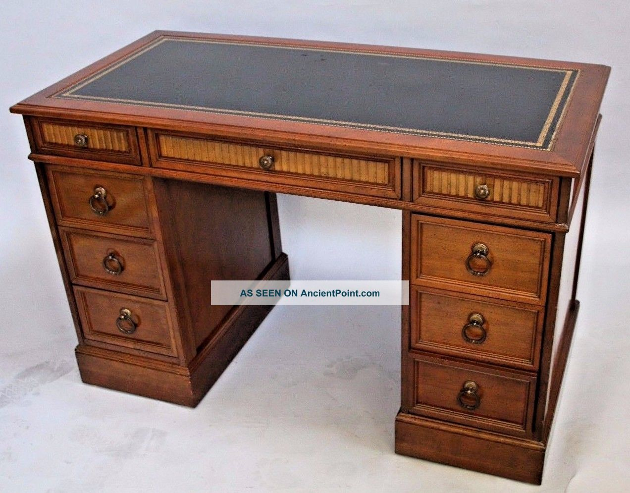 Key Hole Desk By Sligh Lowry Leather Top Vintage Executive Walnut Mid Century