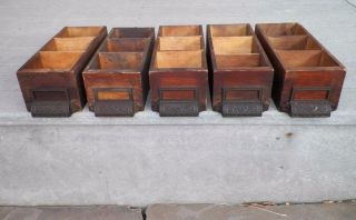 (5) Matching Antique Primitive Library Filing Cabinet Drawer Dovetail photo
