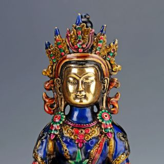Collectable Brass Cloisonne Carved A Buddism Godness Guanyin Statue photo