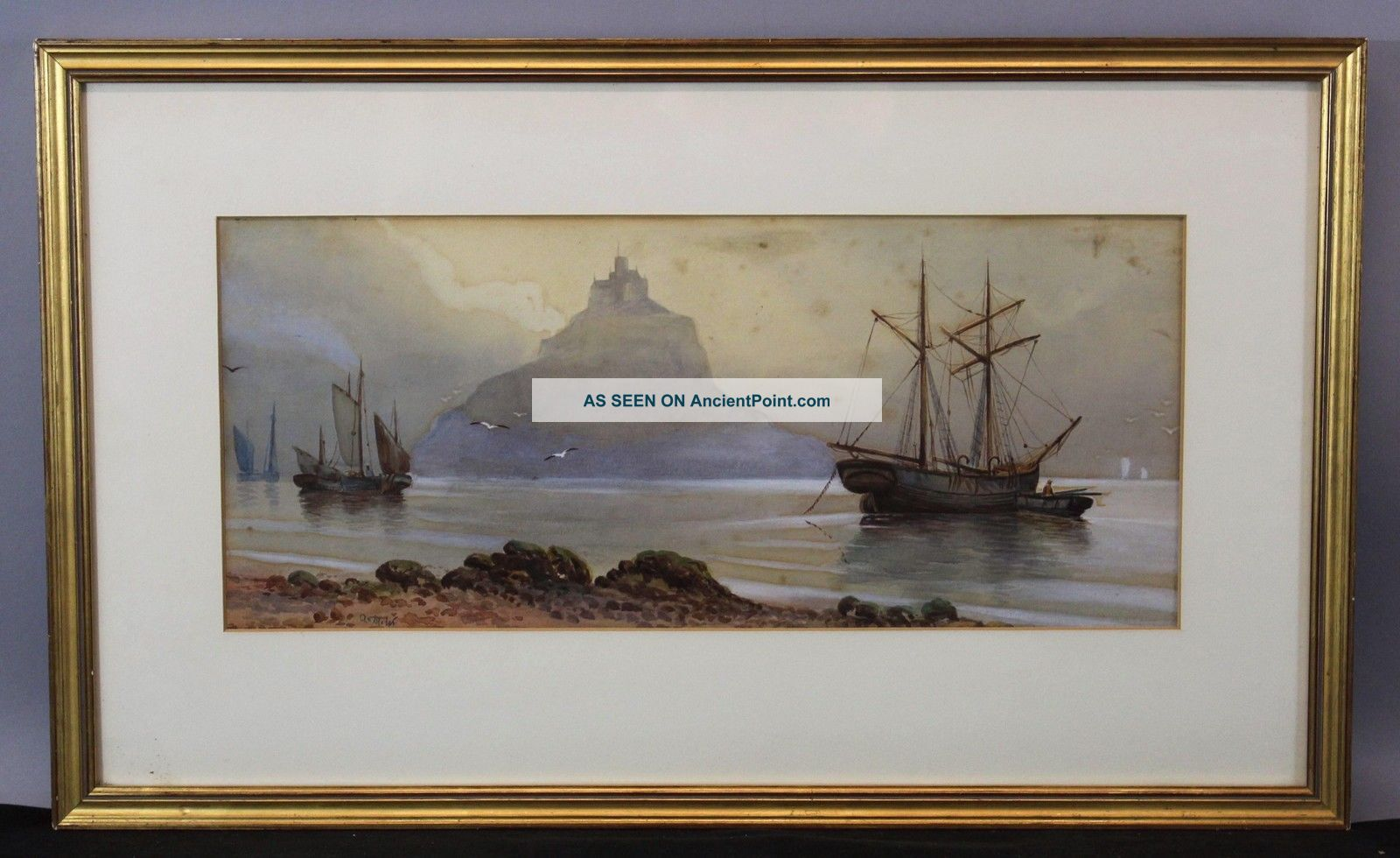 Antique Signed French Watercolor Painting,  Mont Saint - Michel Castle & Boats,  Nr Other Maritime Antiques photo