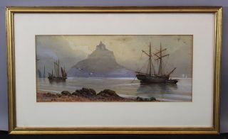 Antique Signed French Watercolor Painting,  Mont Saint - Michel Castle & Boats,  Nr photo