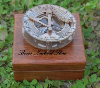 Antique Maritime West London Vintage Brass Sundial Compass Nautical Decor Gift photo