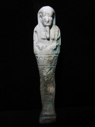 Zurqieh - Ancient Egypt,  Inscribed With Hieroglyphs Faience Ushabti photo