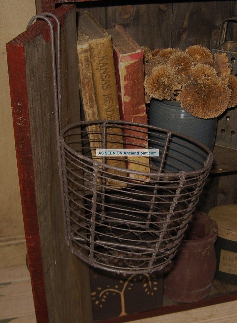 Hanging Metal & Chicken Wire Basket Primitive French Country Farmhouse Decor Primitives photo