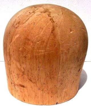 Antique Wood Wooden Millenery Hat Form Block Mold Crown Head Stand photo