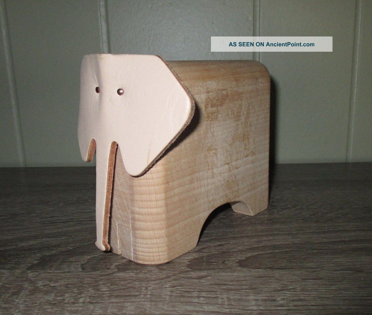 Mid Century Dwell Modern Eames Decor Wood Elephant Sculpture Card Holder - Mid-Century Modernism photo