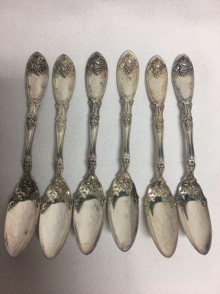 1881 Rogers La Vigne Silver Plate 6 Grapefruit Spoons 5 7/8