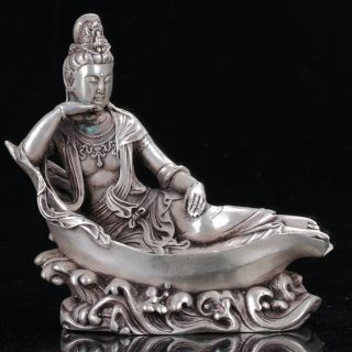 Old Chinese Cupronickel Handwork Sleeping Kwan - Yin Statue photo
