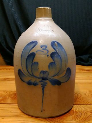 Vintage 3 Gallon Stoneware Jug W/ Cobolt Blue Flower J.  Fisher Lyons,  N.  Y. photo