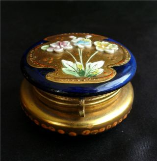 Antique Cobalt Glass,  Enamel Decorated Patch Box photo