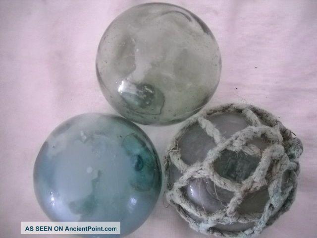 3 Alaska Beach Combed Uniquetrademarked Vintage Glass Floats Beachcomberbum Fishing Nets & Floats photo