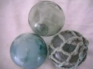 3 Alaska Beach Combed Uniquetrademarked Vintage Glass Floats Beachcomberbum photo