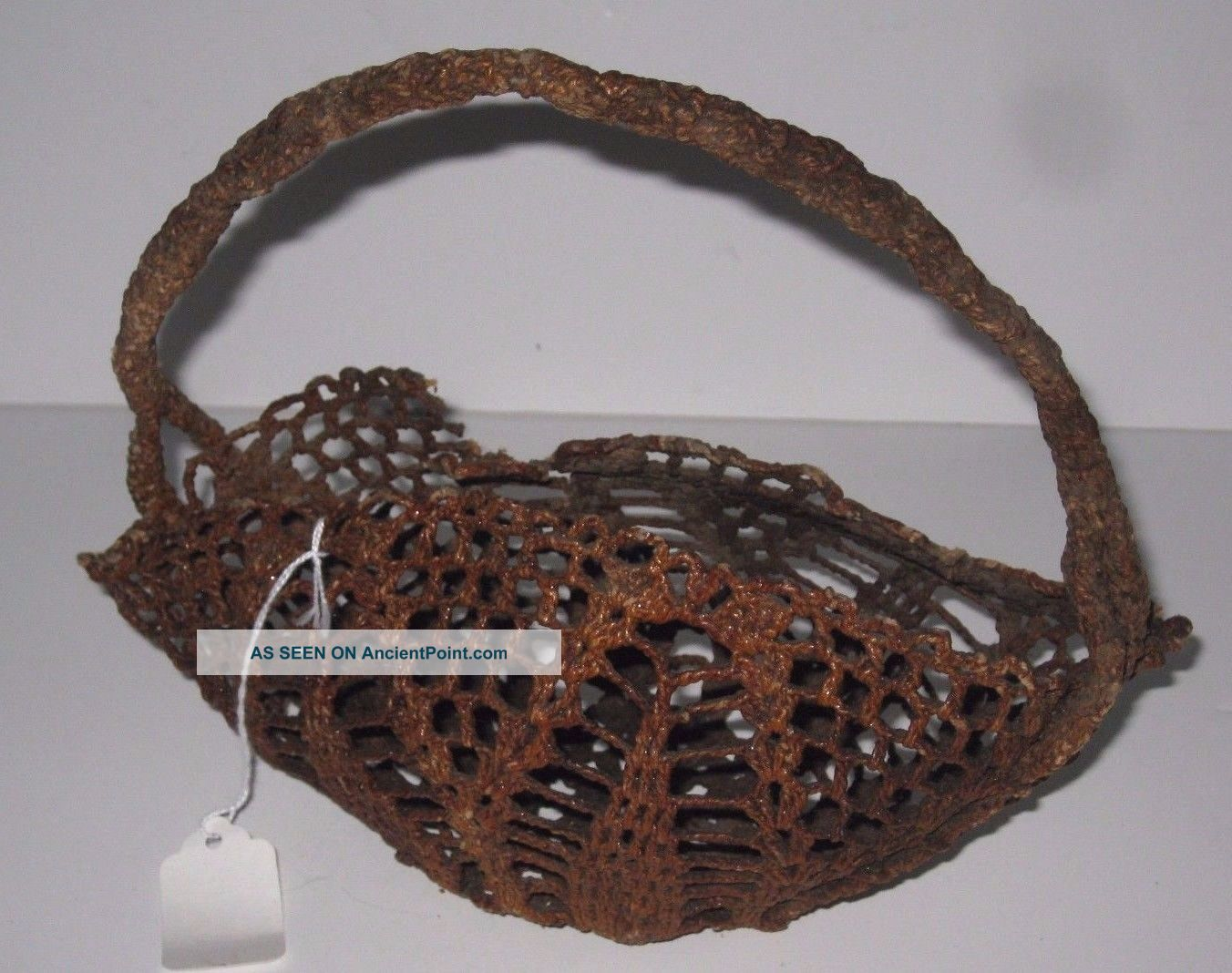 Antique Sailor Made Rope - Work Macrame Oblong Basket Knotted Twine Varnished Other Maritime Antiques photo