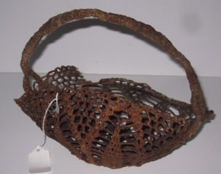 Antique Sailor Made Rope - Work Macrame Oblong Basket Knotted Twine Varnished photo