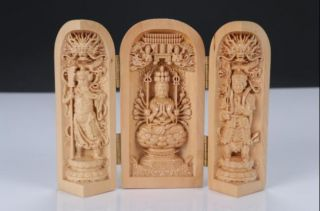 Boxwood Highly Difficulty Carved Floding Box Bodhisattva Heart Sutra L1 photo