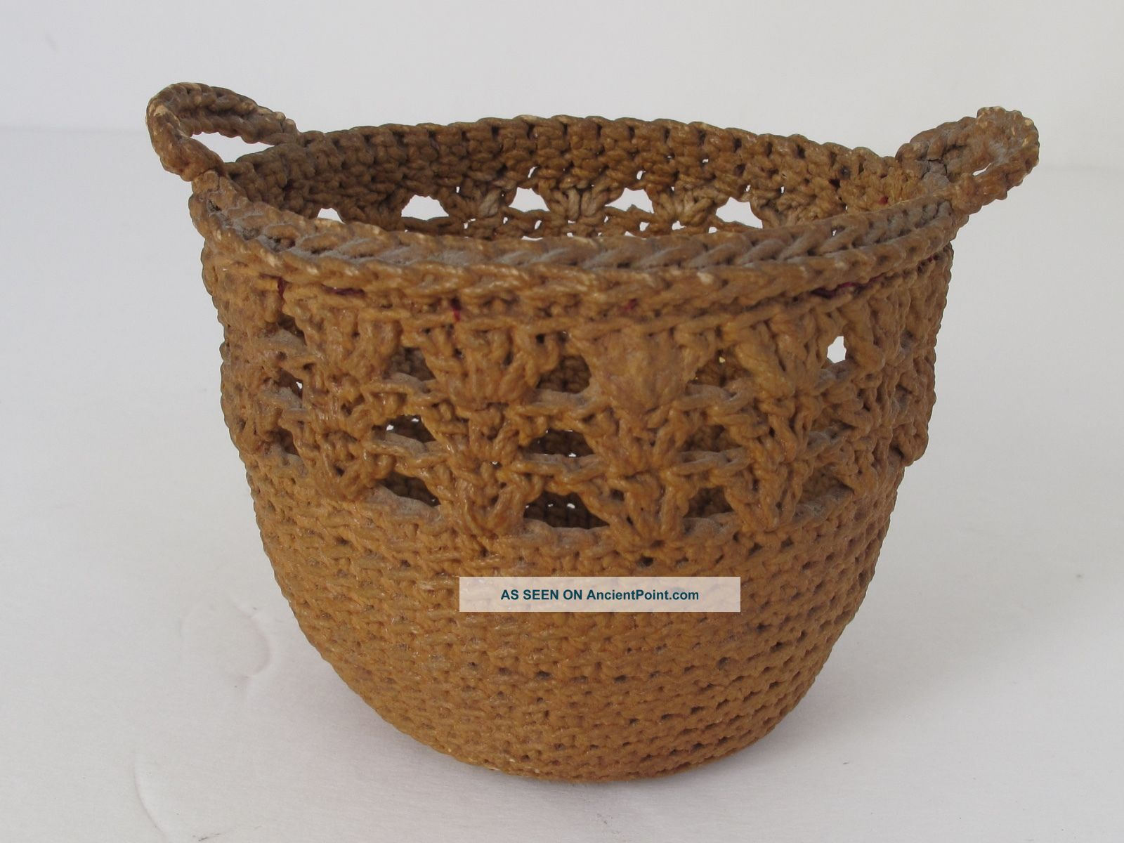 Antique Sailor ' S Macrame Small Basket Folk Art photo