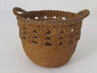 Antique Sailor ' S Macrame Small Basket photo