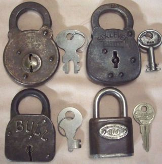 4 Antique/vintage Padlocks With Keys Sargent Six Lever Independent Secure Bull photo