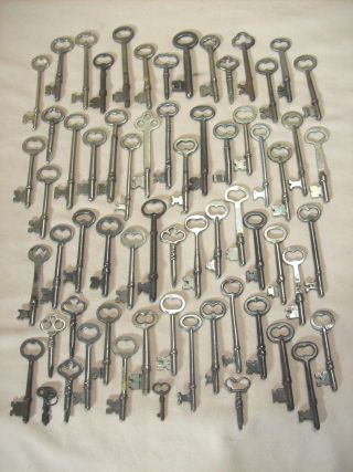 Antique 64 Steel Skeleton Keys For Doors,  Locks,  Cabinets And Chests photo
