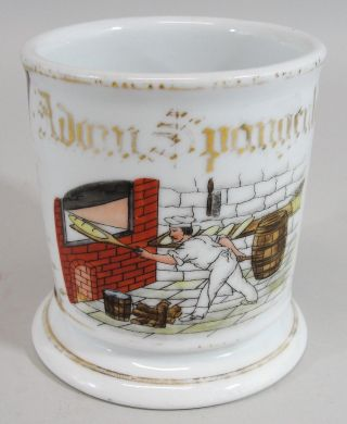 19thc Antique Painted Porcelain Occupational Shaving Mug Brick Oven Bread Baker photo