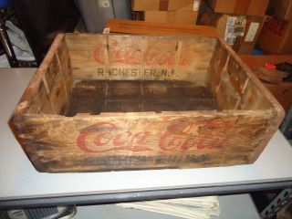 ✰ Coca Cola Soda Pop Wood Box Crate Advertising Metal Corners Rochester Ny photo