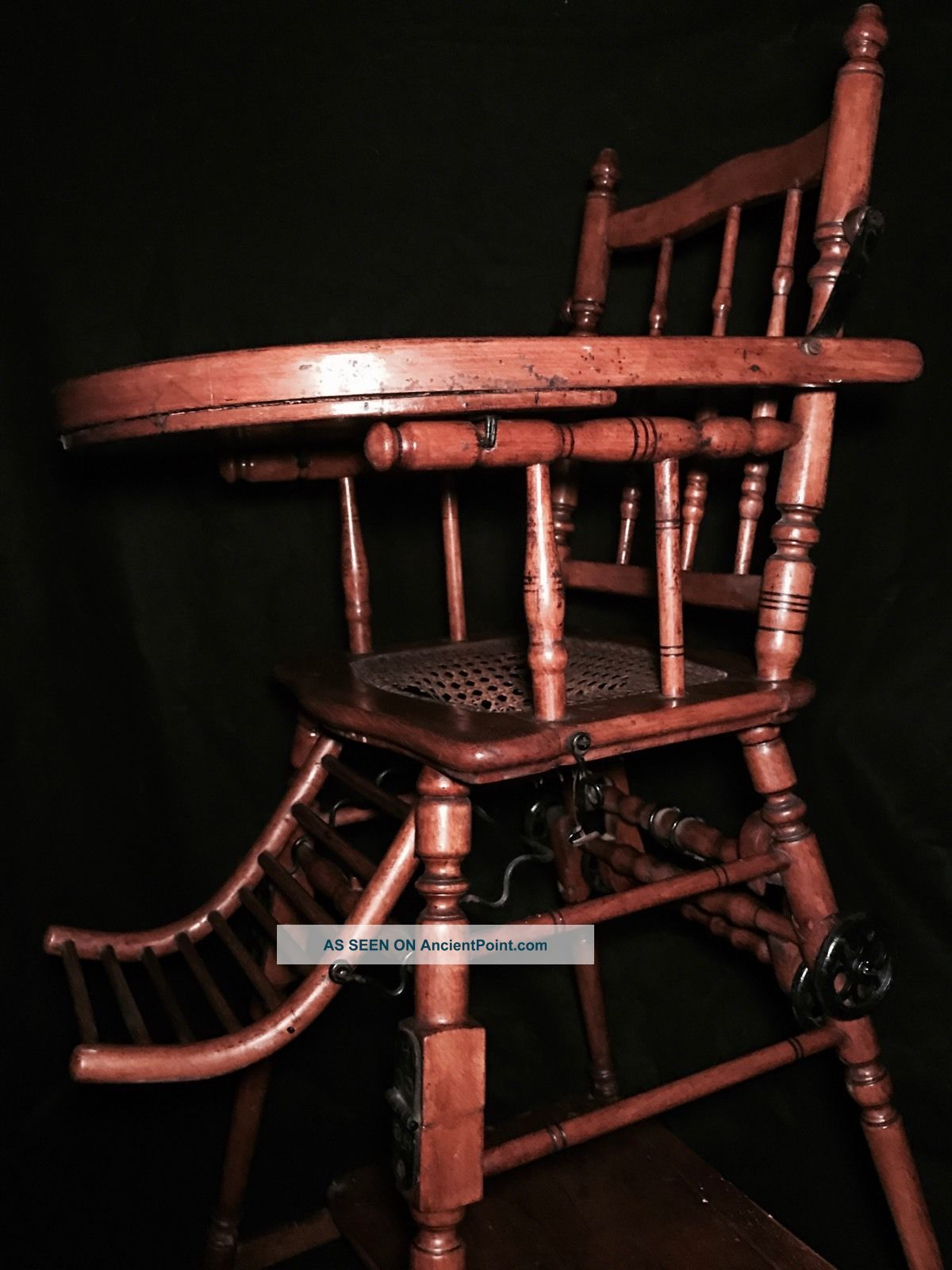 19th Century Child ' S Convertible High Chair W/cast Iron Wheels 1800-1899 photo