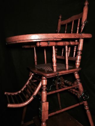19th Century Child ' S Convertible High Chair W/cast Iron Wheels photo