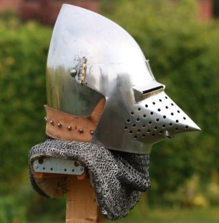 Medieval Hondskull Bascinet Helmet With Chainmail Reenactment Battle Replica photo
