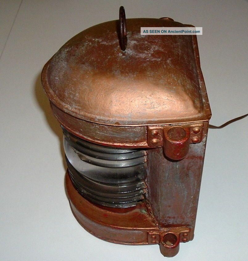 Antique Circa 1916 ?? Perko Ship Lantern Converted To Electric Lamps & Lighting photo