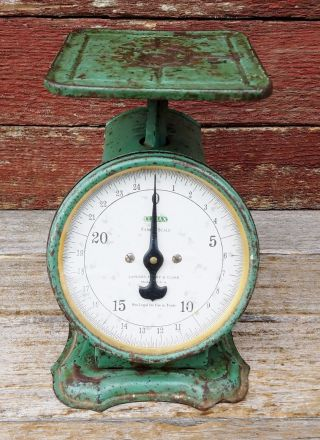 Vintage Landers,  Fray & Clark Family Scale Climax 25 Lb Scale Retro Green Color photo
