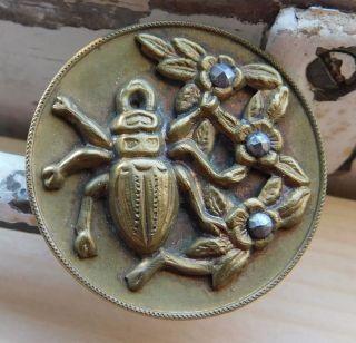 Large Antique Vintage Collectible Picture Button Botanical Beetle Bug Cut Steels photo